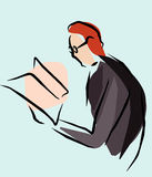 Reader. Simple vector illustration of man with newspaper Stock Photos