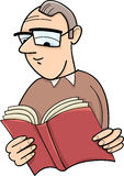 Reader with book cartoon illustration Stock Image