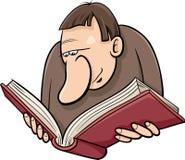 Reader with book cartoon illustration Stock Photo