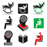 Reader book icons. Royalty Free Stock Photography