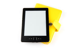 Reader and case. Ebook reader with yellow case on white background Royalty Free Stock Photography