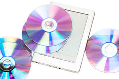 Reader and cd disks Stock Images