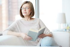 Reader at home Royalty Free Stock Images