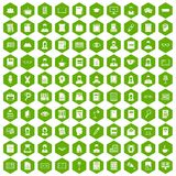 100 reader icons hexagon green. 100 reader icons set in green hexagon isolated vector illustration Royalty Free Stock Image