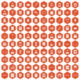 100 reader icons hexagon orange. 100 reader icons set in orange hexagon isolated vector illustration Stock Photo