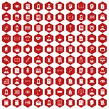 100 reader icons hexagon red. 100 reader icons set in red hexagon isolated vector illustration Stock Image