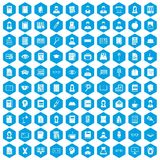 100 reader icons set blue. 100 reader icons set in blue hexagon isolated vector illustration Vector Illustration