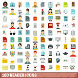 100 reader icons set, flat style. 100 reader icons set in flat style for any design vector illustration Royalty Free Stock Photos