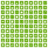 100 reader icons set grunge green Stock Photography
