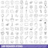 100 reader icons set, outline style Stock Photo