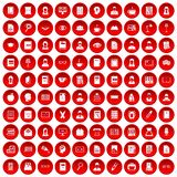 100 reader icons set red. 100 reader icons set in red circle isolated on white vectr illustration Stock Images