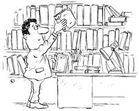 Reader in library. Black and white illustration: reader taking a book from the library shelf Royalty Free Stock Image