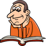 Reader man cartoon illustration. Cartoon Illustration of Reader Man with Book Stock Photos