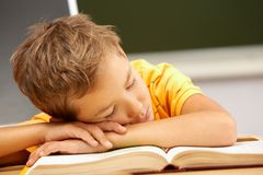 Reader sleeping. Portrait of cute lad sleeping with his head on open book Stock Photos
