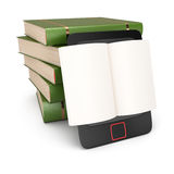Reader and stack of books. On white background. 3d render Stock Image