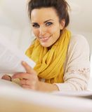 Beautiful Reader Turning the Book's Pages Royalty Free Stock Image