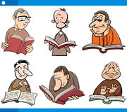 Readers characters set cartoon Royalty Free Stock Image