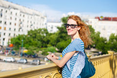 Readhead woman in glasses outdoor Royalty Free Stock Photos