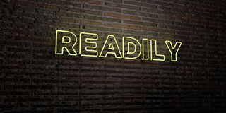 READILY -Realistic Neon Sign on Brick Wall background - 3D rendered royalty free stock image. Can be used for online banner ads and direct mailers stock illustration