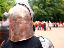 Readiness to the fight. Knights before a fight, preparation to knight's tournament Royalty Free Stock Photography