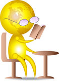 Reading. Glob character reading book in the library unique illustration Royalty Free Stock Image