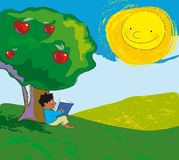 Reading. A scene of a child under the apple tree. He's reading a book Royalty Free Stock Image