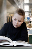 Reading. Young boy reading in a Library stock image