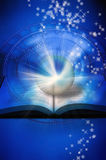 Reading astrology. Astrological wheel, a book with crystal ball and rays of light over blue starry background vector illustration