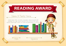 Reading award with girl and books. Illustration Stock Photo