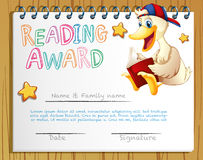 Reading award template with duck reading book Royalty Free Stock Image