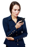 Reading bad news text message Stock Image
