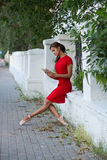 Reading ballerina on a street Royalty Free Stock Photos