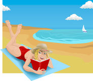 Reading on beach. A woman sunbathing and reading on a beach vector illustration
