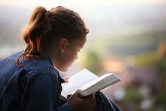 Reading the bible. Cute girl is reading the bible in the evening sun on a small hill over the country stock images