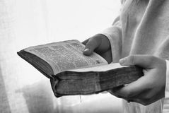 Reading the Bible Royalty Free Stock Images