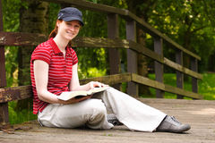 Reading the Bible Stock Photography