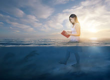 Reading the Bible in deep waters royalty free stock image