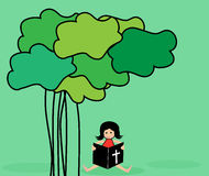 Reading Bible. Girl reading the bible under the tree royalty free illustration