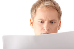 Reading blank paper royalty free stock photography