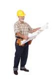 Reading blueprints Royalty Free Stock Photos