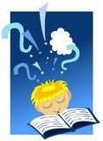 Reading a book. Illustration of a child reading a book Stock Photography