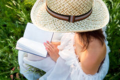 Reading a book. Girl reading a book on the meadow. The pages are blank - place your text or illustration Stock Photo