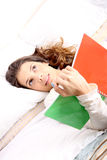 Reading a Book in Bed Royalty Free Stock Photography