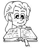 Reading the book coloring pages Royalty Free Stock Photography