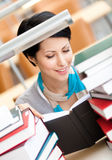 Reading book female student Stock Photo