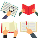 Reading book flat icon set. Reading book icon set, four flat images with book and hands on white background Royalty Free Stock Photography