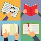 Reading book flat icon set royalty free illustration