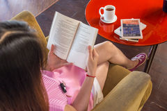 Reading book is a good habit. For young people stock images