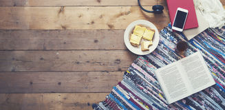 Reading a book hero header. Sunday morning breakfast header image Stock Images