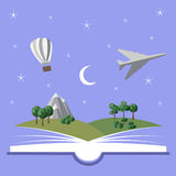 Reading book, imagination concept stock illustration